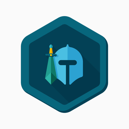 shielding: Soldier icon, vector illustration. Flat design style with long shadow