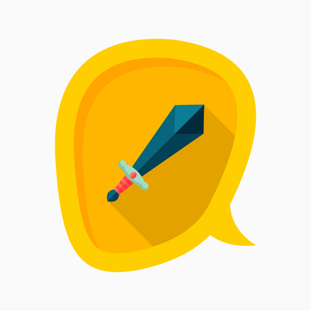 dangerous work: Sword icon, vector illustration. Flat design style with long shadow