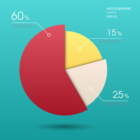 modern vector abstract pie chart infographic elements.can be used for workflow layout, diagram, number options, web design.  Ilustração