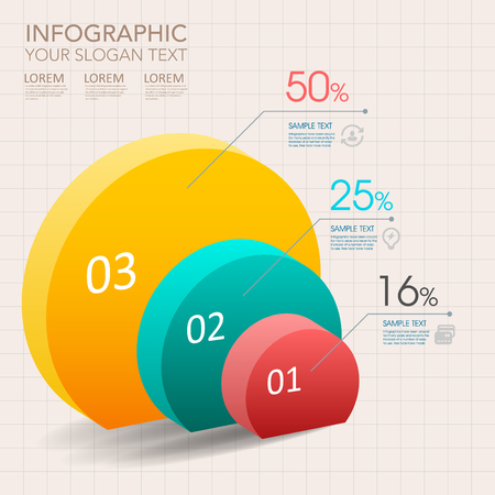 modern vector abstract pie chart infographic elements.can be used for workflow layout, diagram, number options, web design.   イラスト・ベクター素材