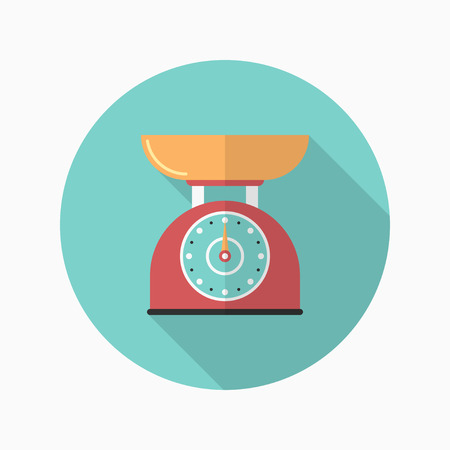 lbs: Kitchenware scales flat  icon with long shadow,circle,eps10,interface,button Illustration