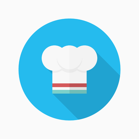 kitchener: Kitchenware chefs hat flat  icon with long shadow,circle,eps10,interface,button