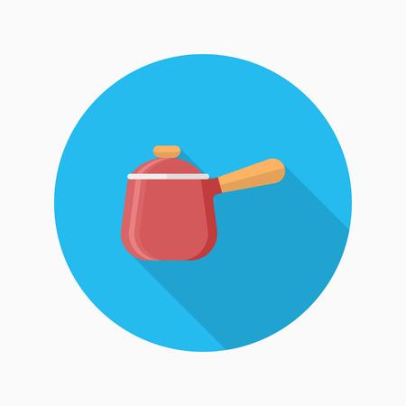 soup pot: Kitchenware soup pot flat  icon with long shadow,circle,eps10,interface,button Illustration