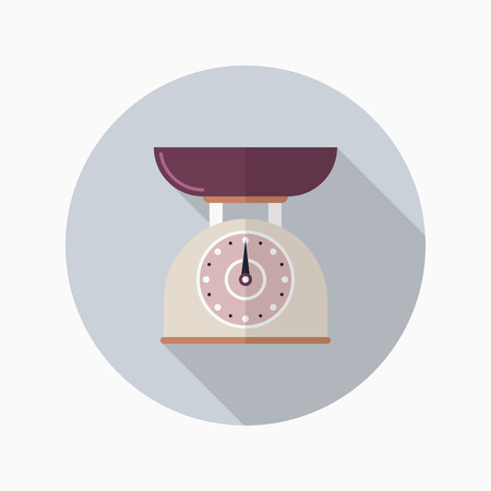 Kitchenware scales flat  icon with long shadow,circle,eps10,interface,button Иллюстрация