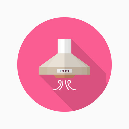 range hood: Kitchenware range hood flat  icon with long shadow,circle,eps10,interface,button
