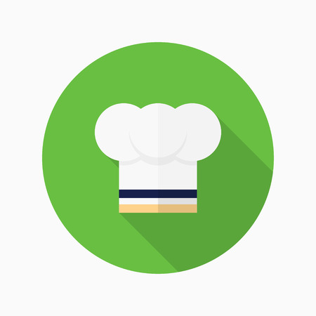 fine cuisine: Kitchenware chefs hat flat  icon with long shadow,circle,eps10,interface,button