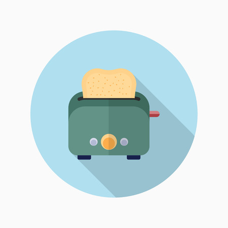 toasted sandwich: Kitchenware grill toaster flat  icon with long shadow,circle,eps10,interface,button