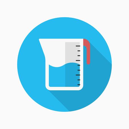 copa: Utensilios de cocina tazas de medir icono plana con una larga sombra, círculo, eps10, interfaz, el botón