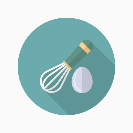 wire whisk: Kitchenware eggbeater flat  icon with long shadow,circle,eps10,interface,button