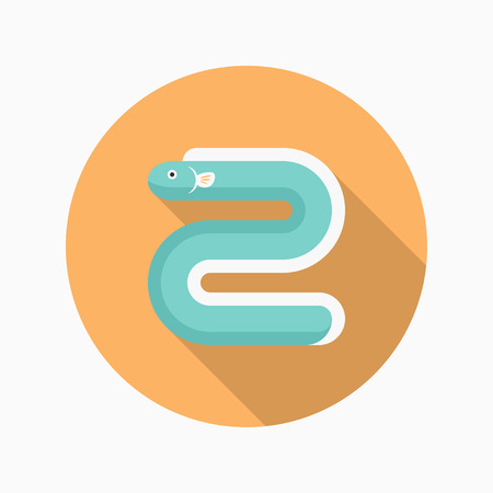 moray: River eel flat  icon with long shadow