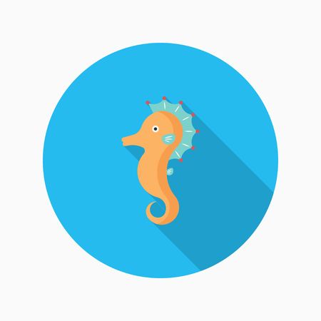 hippocampus: Hippocampus apron flat  icon with long shadow Illustration