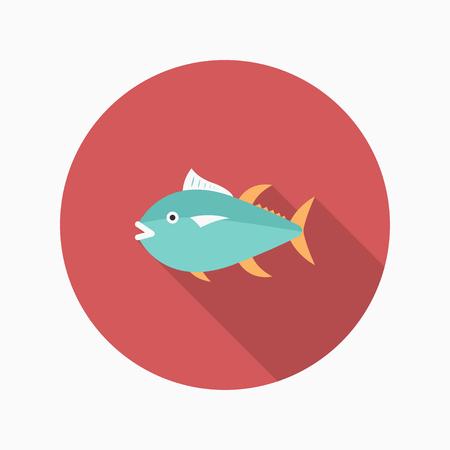 bluefin tuna: Tuna  flat  icon with long shadow Illustration