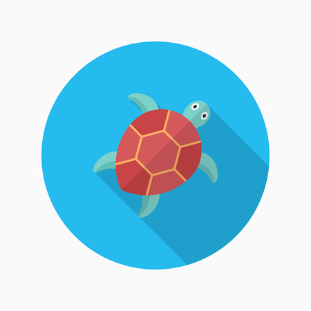 tortuga caricatura: La tortuga de mar icono plana con una larga sombra Vectores
