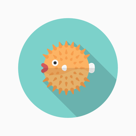 Puffer fish flat  icon with long shadow Illustration
