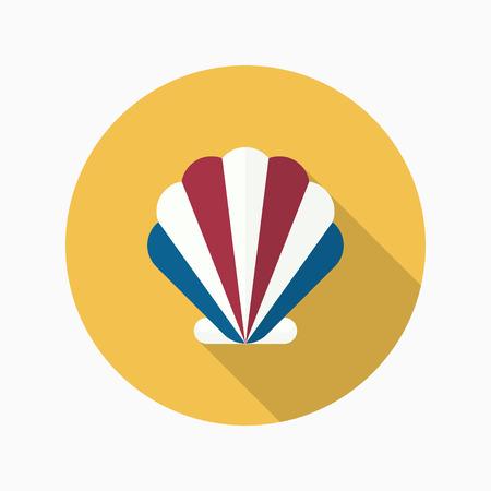 shellfish: Shellfish flat  icon with long shadow Illustration
