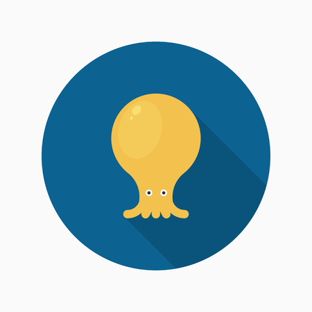 cephalopod: Octopus flat  icon with long shadow