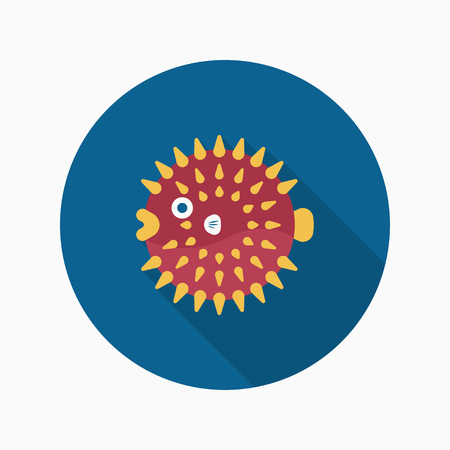 bloat: Puffer fish flat  icon with long shadow Illustration
