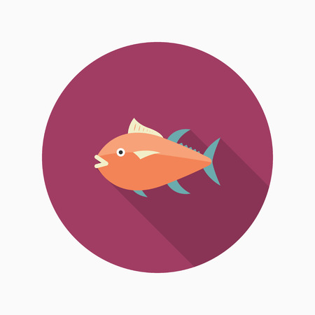 bluefin tuna: Tuna  flat  icon with long shadow Illustration