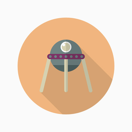 invaders: Spacecraft  flat  icon with long shadow, Illustration