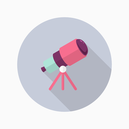 ocular: Telescope  flat  icon with long shadow,