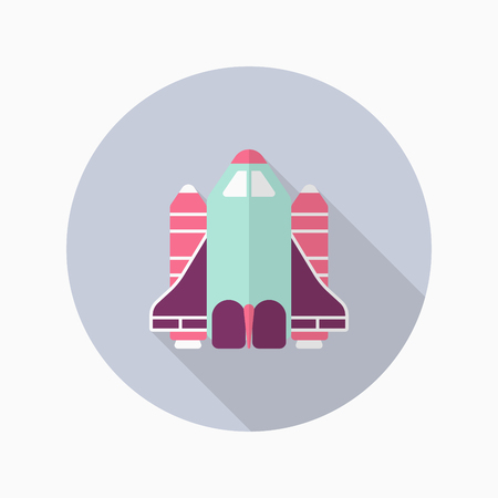 shuttle: Space Shuttle flat  icon with long shadow