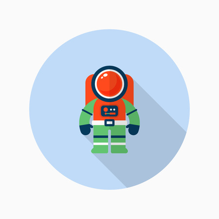 spaceflight: Astronaut flat  icon with long shadow
