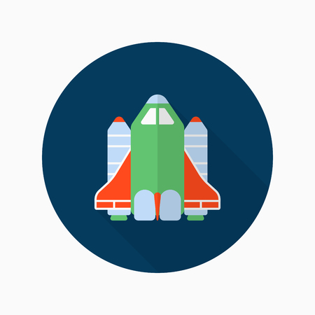 shuttle: Space Shuttle flat  icon with long shadow,