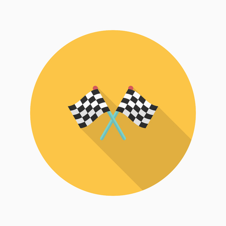 two crossed checkered flags: Checkered flag flat  icon with long shadow,