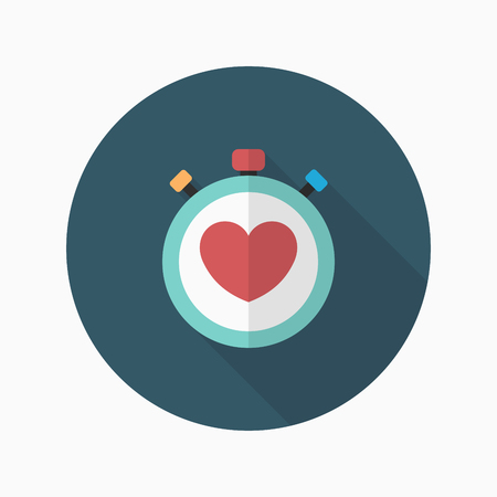 diastolic: Heart beat meter flat  icon with long shadow,