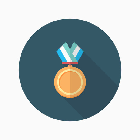 medal: Medal flat  icon with long shadow,