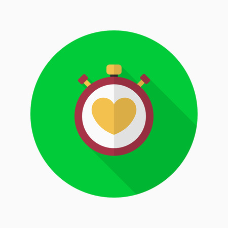 tachycardia: Heart beat meter flat  icon with long shadow