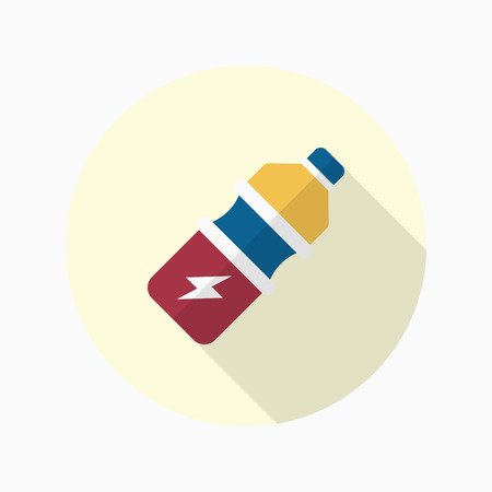 food hygiene: Sports drinks flat  icon with long shadow,