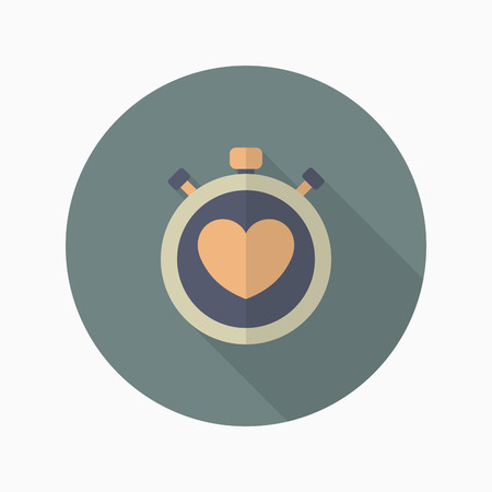 heart beat: Heart beat meter flat  icon with long shadow