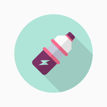 energy drink: Sports drinks flat  icon with long shadow