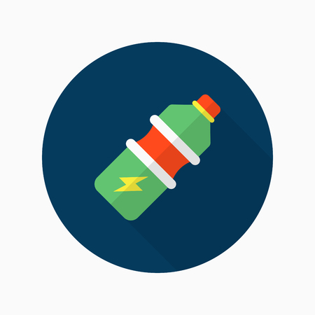 energy drink: Sports drinks flat  icon with long shadow,