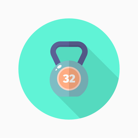 web cast: Kettle bells flat  icon with long shadow,