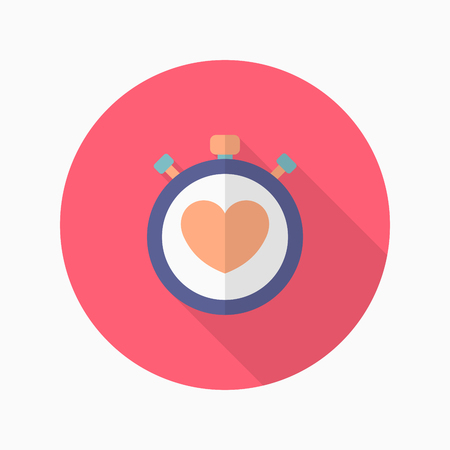 tachycardia: Heart beat meter flat  icon with long shadow,