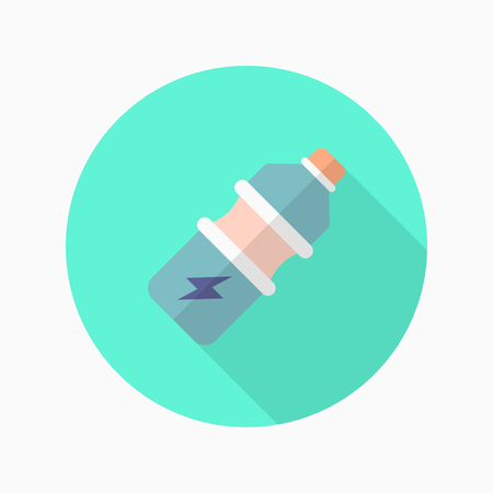 food hygiene: Sports drinks flat  icon with long shadow