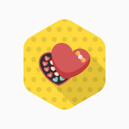 sentiment: Valentines Day chocolate icon, Vector flat long shadow design.Fall in love