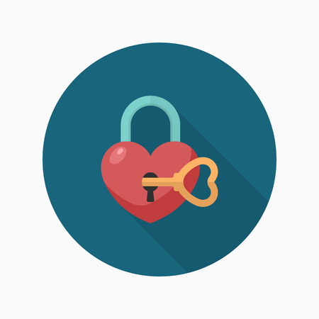 passkey: Valentines Day lover lock icon, Vector flat long shadow design.Fall in love Illustration