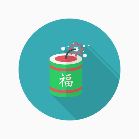 prosper: Chinese New Year icon, Vector flat long shadow design.word  fu, Chinese festival couplets with firecrackers means  - good luck and happiness to you. Illustration