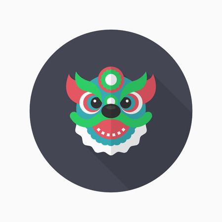 dancing dragon: Chinese New Year icon, Vector flat long shadow design.The dragon and lion dancing head