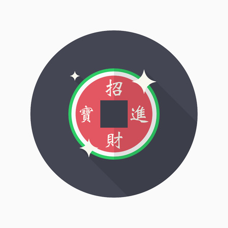 pendent: Chinese New Year icon, Vector flat long shadow design.Chinese decoration, words mean wish when wealth is acquired, precious objects follow, Congratulate a new year.