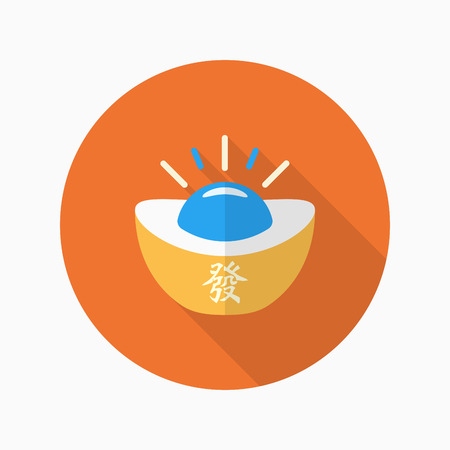 ingot: Chinese New Year icon, Vector flat long shadow design.Gold ingot with words means wealth