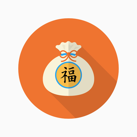 asian family: Chinese New Year icon, Vector flat long shadow design.word  fu means - good luck and happiness to you. fu - Good fortune.