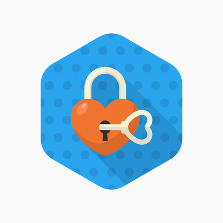 secret love: Valentines Day lover lock icon, Vector flat long shadow design.Fall in love Illustration