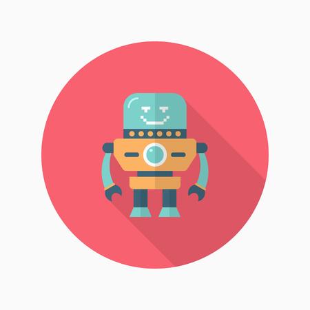 robot: icono de robot, vector plana dise�o de la sombra larga. Robot y Concepto de la ciencia.