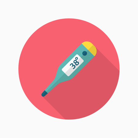 Ear Thermometer icon , Vector flat long shadow design. Ilustracja