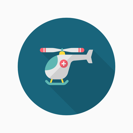 Medevac helicopter  icon , Vector flat long shadow design.