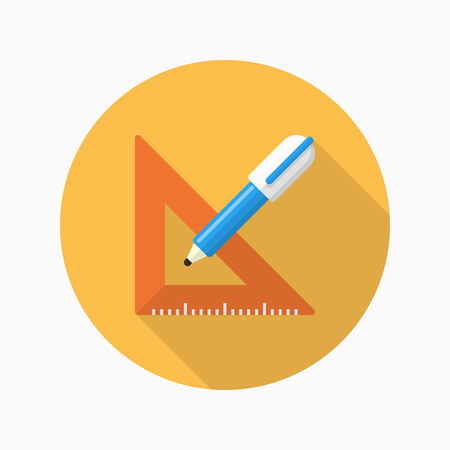 education concept: Measurement tools icon , Vector flat long shadow design. In education concept.